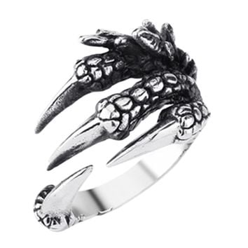 2017 New Personalized Punk Rock rings Stainless Steel Mens Biker Rings Vintage Gothic Jewelry Dragon Claw Ring for Men gift