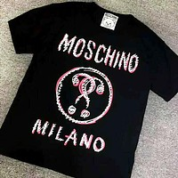 Moschino 2019 new double question mark graffiti print round neck loose short-sleeved T-shirt Black
