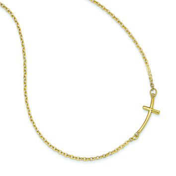 14k Small Sideways Curved Cross Necklace SF2080