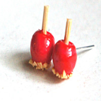 Candy Apple Stud Earrings