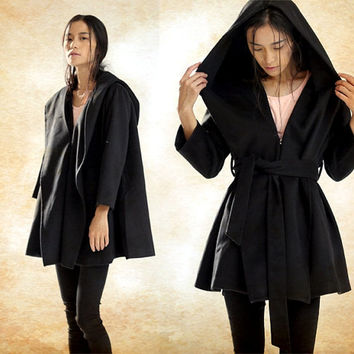 Hooded Wool Coat, Wool Jacket in Black, Black Cloak, Black Cape Coat, Plus Size Women