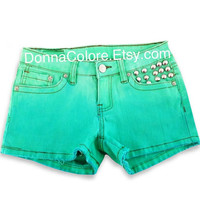 Dip Dye Studded Shorts Blue Green