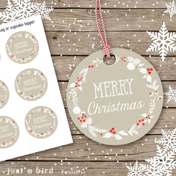 PRINTABLE Christmas Tags, Cupcake Toppers, Christmas DIY tags, printable holiday tags, Merry Christmas gift labels, holiday printable, gift