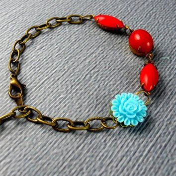 Free Shipping Coral Red Aqua Vintage Bracelet by ManoCelebrates