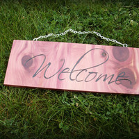 Welcome Sign Wooden Wall Hanging - READY TO SHIP