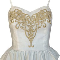 Chic Embroidery Peplum Top In White/Gold Embroidery | Thirteen Vintage