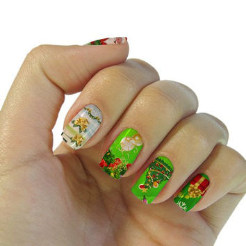 One Sheet Festival Xmas Claus Tree Pattern Water Transfer Print Nail Sticker