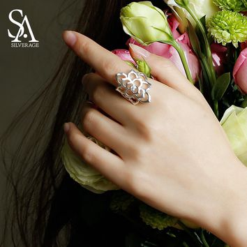 SA SILVERAGE 925 Sterling Silver Flower Wedding Rings for Women Fine Jewelry Trendy Silver Big Women Rings