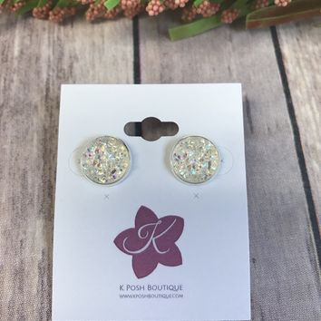 Iridescent and Silver Druzy Earrings