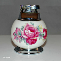 Pine Hill Bone China Floral Lighter (c.1950's) Pink Roses Transferware, Mid-Century, Tobacciana Collectible
