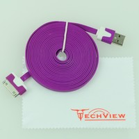 Techview(L003) Colorful 3M 10 FT extra long slim noodle flat USB Data Sync Cable for Apple iPhone 4 4S iPod touch (Purple)
