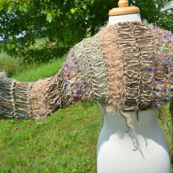 Shaggy Chic 'Russian Sage' Sleevie  - Multitextural Knit Shrug Indie Tribal - Versatile fringed shggy shrug can be worn as scarf