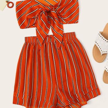 Striped Tie Front Tube Top With Shorts