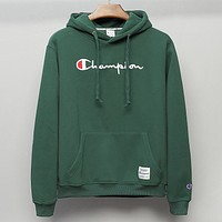 Champion New fashion embroidery letter couple hooded long sleeve top sweater Green