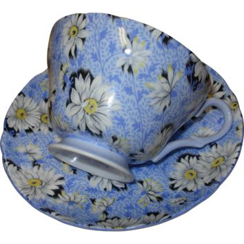 Vintage Shelley Porcelain Fine Bone China English Blue Daisy Chintz Cup and Saucer