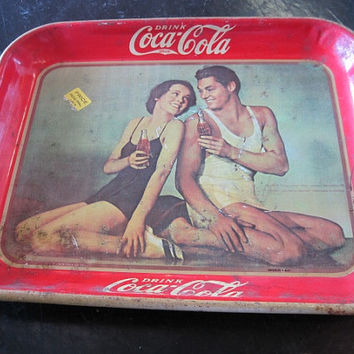 1945 Reproduction of 1934 Tarzan and Jane Coca Cola Serving Tray - Made in S. Africa