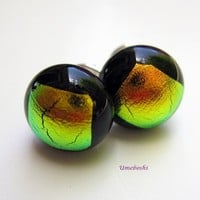 Autumn's Paint Brush Handmade Dichroic Fused Glass Post Earrings