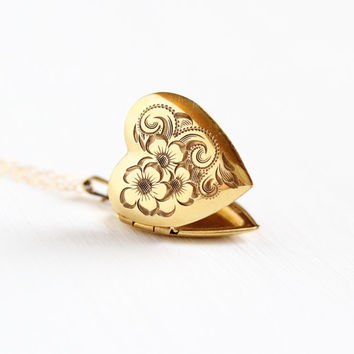 Vintage Gold Filled Heart Flower Locket Necklace - 1940s WWII Sweetheart Vine Floral Design A&Z Art Deco Romantic Love Pendant Jewelry