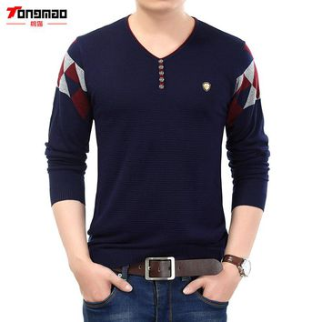 New Autumn Winter Fashion Men Knitted Cashmere Sweater Men Clothing Solid Causal V-Neck Button Argyle Men Pullover Pull Homme