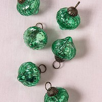 Luna Bazaar Mini Mercury Glass Ornaments (Tania Design, 1-Inch, Vintage Green, Set of 6) - Vintage-Style Decorations