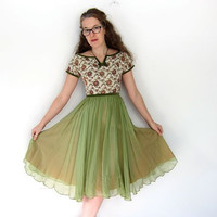 Chiffon 50s Dress Floral Tapestry Princess Dress Moss Green 1950s Cocktail Party Short Sleeve Mid Century Midi Wiggle Louanne's Vintage XS