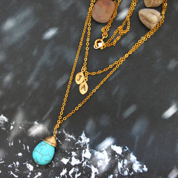 SALE10%) A-019 Hand stamped personalized initial leaf with turquoise drop, Double strand, Layered necklace, Gold plated/Everyday jewelry/