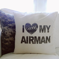 Personalized I Love My Airman 16 x 16 Pillow Cover, Military, patriotic, present, houswarming gift, 4th of July, Air Force