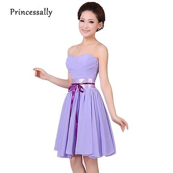Purple Bridesmaid Dresses Sweetheart Chiffon Short With Ribbons Formal Wedding Party Bridesmaid Gown Lavender Bridesmaid Dress