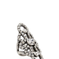 FOREVER 21 Rhinestone Filigree Ring Silver/Clear