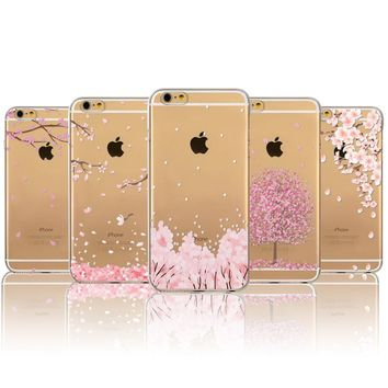 Phone Case For Apple iPhone 6 6s 5 5S SE Phone Bag Japan Sweet Cherry Blossom Floral Leaves Soft TPU Transparent Back Cover