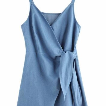 Self Tie Wrap Chambray Cami Dress