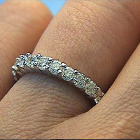 2.20ct Round Diamonds Eternity Wedding Ring 18kt white gold JEWELFORME BLUE
