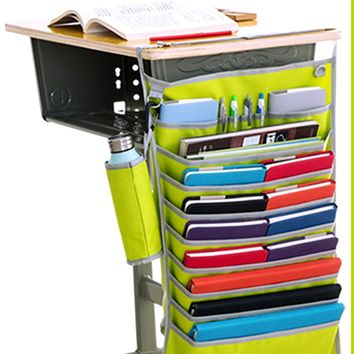 Adjustable Desk Pocket Organizer Hook Design Hanging Holder Book Storage Bag Stationery Water Bottle Container