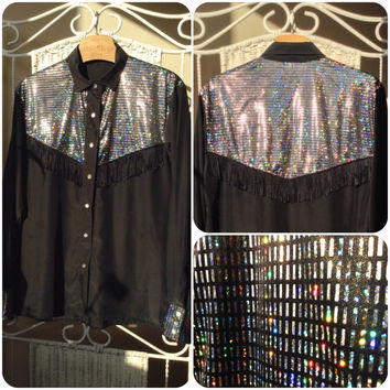 1980's Disco western country women shirt ( tunic ) with fringe // long sleeve // Plus size