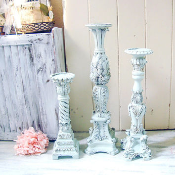 French Blue Candle Holders, Tall Ornate Blue Candleholders, Farmhouse Pillar Candlestick Holders, Set of 3 Large Candleholders, Shabby Chic