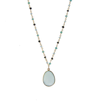 Green Onyx Black spinel and Seafoam Chalcedony Wirewrapped Bead Necklaces - Layered Gemstone Necklace