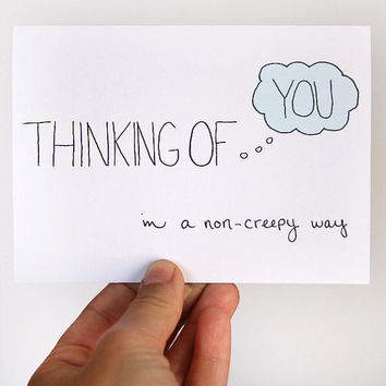 Thinking Of You Card In A NonCreepy Way Light Blue by JulieAnnArt