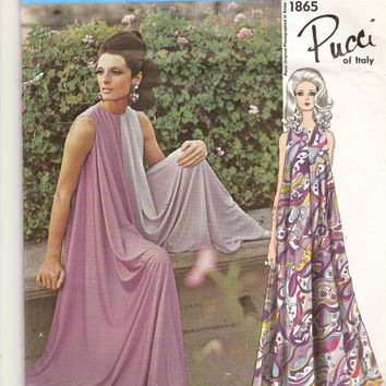 1960s Vogue Couturier Design 1865 Pucci Culottes Pattern Evening Wear Vintage Sewing Pattern