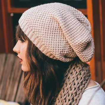 Waffle Knit Slouch Beanie Hat