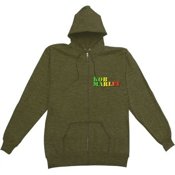 Bob Marley Men's  Collage Zippered Hooded Sweatshirt Green Rockabilia