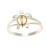 10MM SILVER 925 YELLOW GOLD PLATED SHINY HAWAIIAN HONU TURTLE RING SIZE 3-10