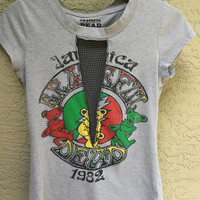 Grateful Dead Upcycled Festival T Shirt with Mesh Insert Size Medium Grey Green Red Jamaica1 982