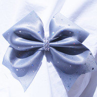 Cheer bow- Sliver glitter with sequins bow- cheerleading bow- cheerleader bow- dance bow- softball bow- cheerbow