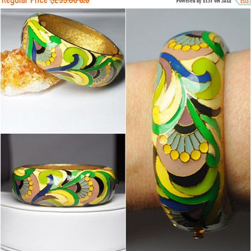 ON SALE Vintage LANVIN Paris Pop Art Enamel Bangle Bracelet,Hinged, Cuff,  Mod, Psychedelic, Multi Color, Absolutely Fabulous! #B213