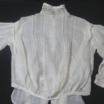 Antique Victorian Lady's White Cotton Blouse, Drawn Work Lace, Window Pane Fabric, Fagoting, Pin Tucks, S to Med. Vintage Victorian Clothing