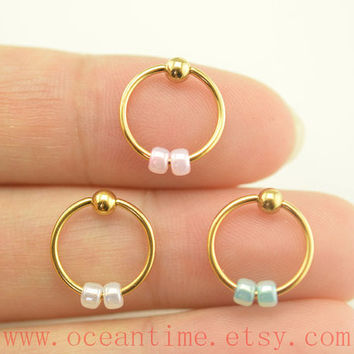 cartilage earring,little beadsTragus Earring,gold Cartilage Hoop,Earring,fantastic Helix Cartilage jewelry,oceantime