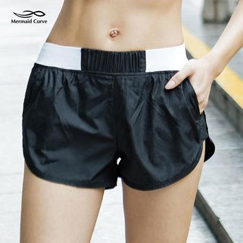 Mermaid Curve Summer Women Yoga Shorts Gym Fitness Breathable Sport Shorts Elastic Waist Quick-dry Workout Running Shorts