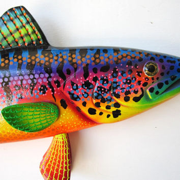 Wood fish carving wall art sculpture
