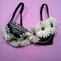 Black lace rhinestone and daisy EDC rave hippie by 2girls2Tus