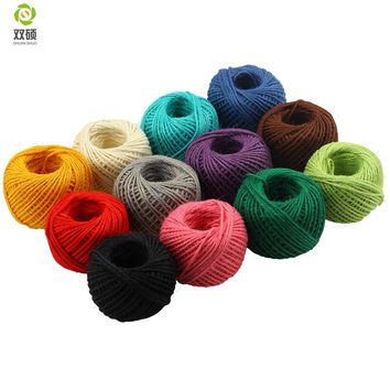 Colorful frame wall hemp rope environmental dyed DIY hand-knitted decorative hemp cord gift pack thread  50M/PCS